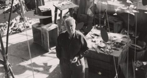 Sculptor Alexander Calder in his studio