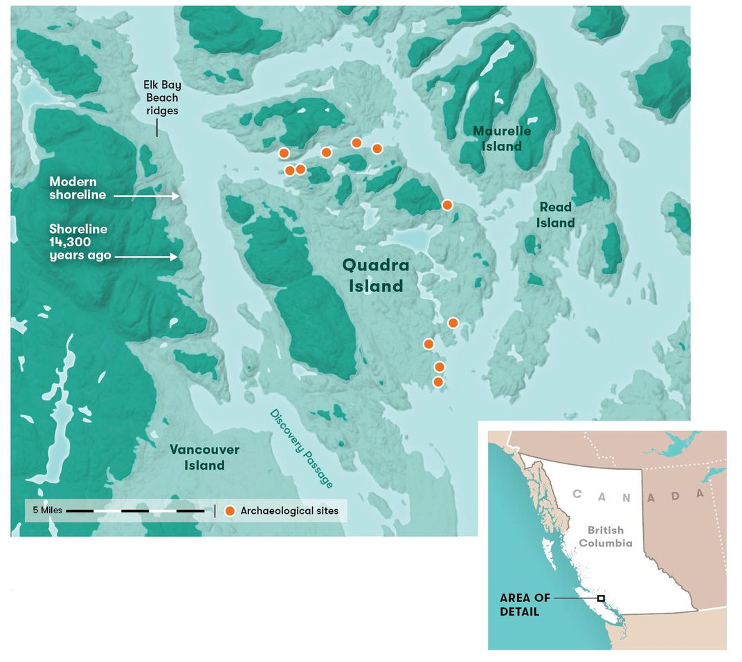 map quadra island with inset