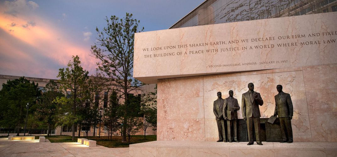 Caption: Controversial Eisenhower Memorial Makes Its Debut
