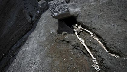 Skeleton of Man Crushed by Stone Block Uncovered in Pompeii
