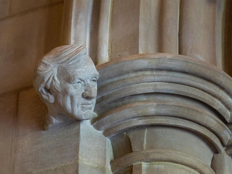 Carving of Elie Wiesel at Washington National Cathedral