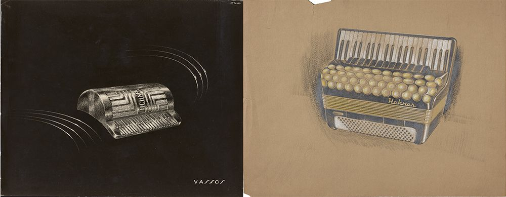 Concept sketch and concept drawing for accordions designed by John Vassos.