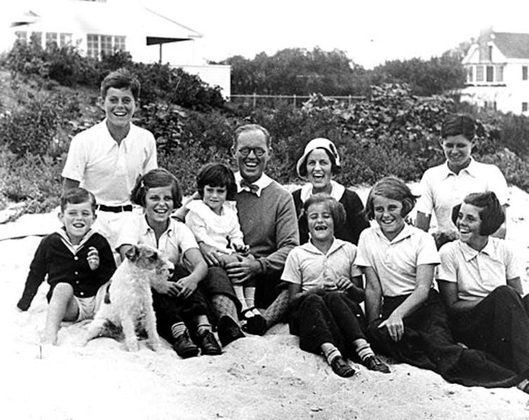 The Kennedy family in 1931. Robert is on the left in a dark sweater.