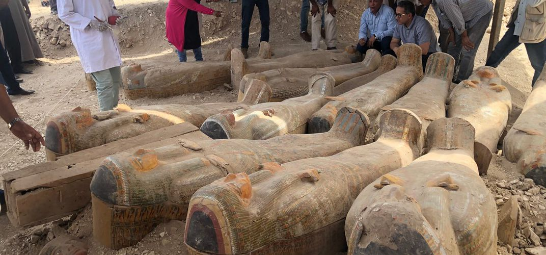 Caption: Twenty Colorful Sealed Coffins Found in Egypt