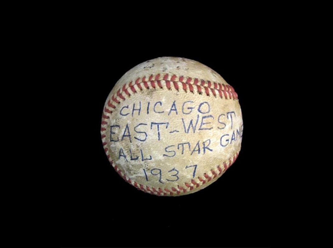 This baseball was used in the 1937 Negro League East-West All-Star Game