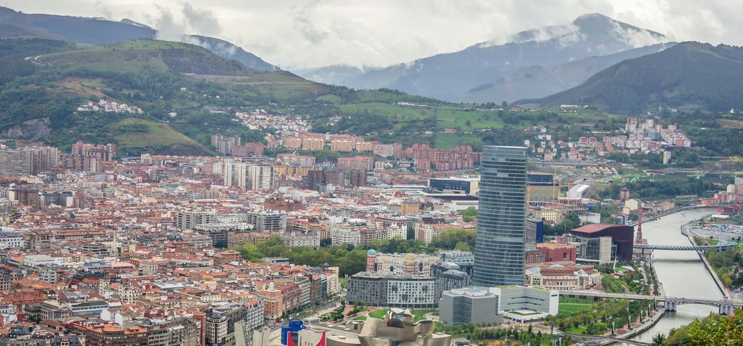 The city of Bilbao set amid the Basque countryside