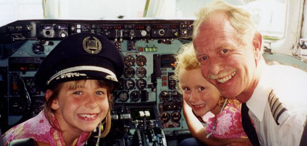 Sullenberger with his daughters in 2001 -- pre-fame