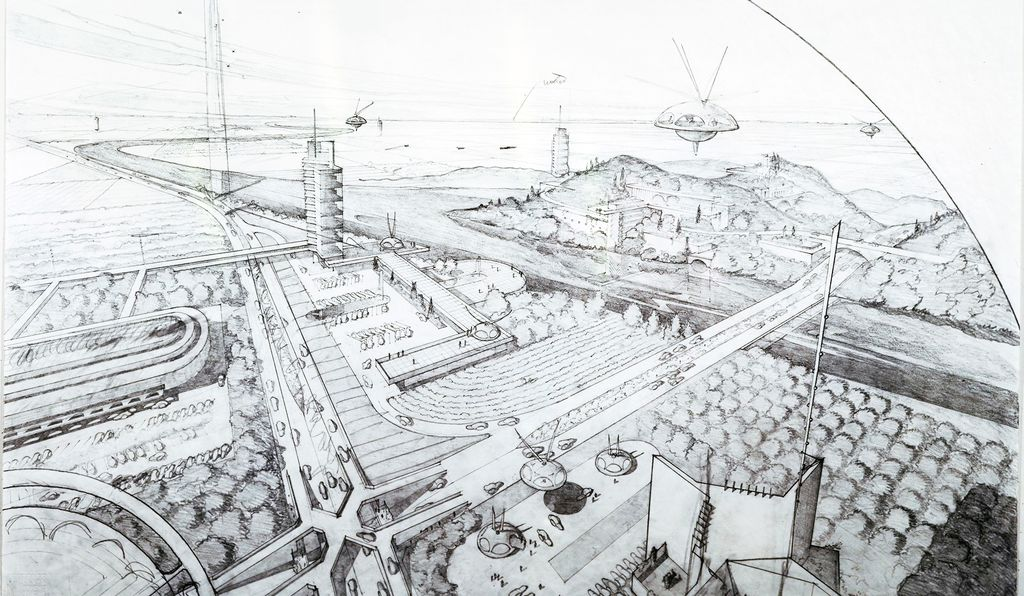 The architect Frank Lloyd Wright envisioned Broadacre City as a sprawling, Utopian suburbia. Residents would take futuristic helicopters as public transportation and live in giant skyscrapers, as seen here.