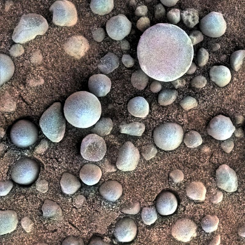 The small spherules on the Martian surface in this close-up image are near  Fram Crater d0211dc6b