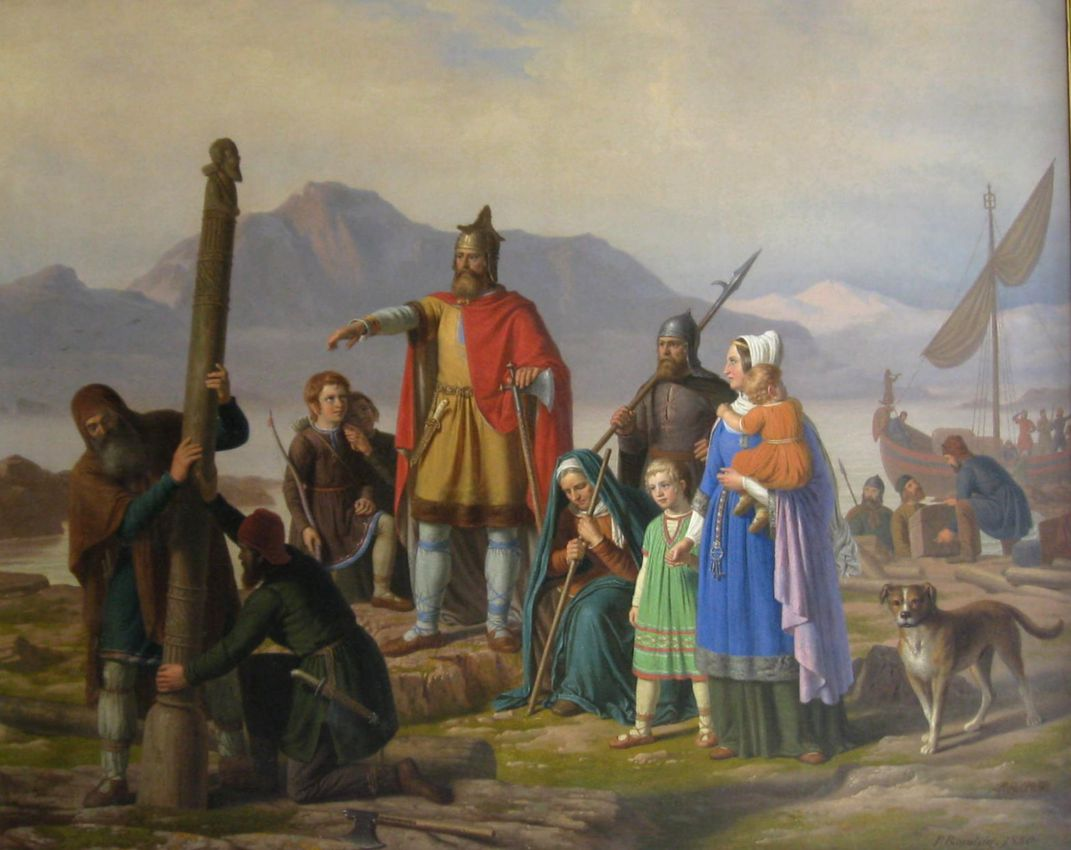 19th-century painting of Viking commanding thralls