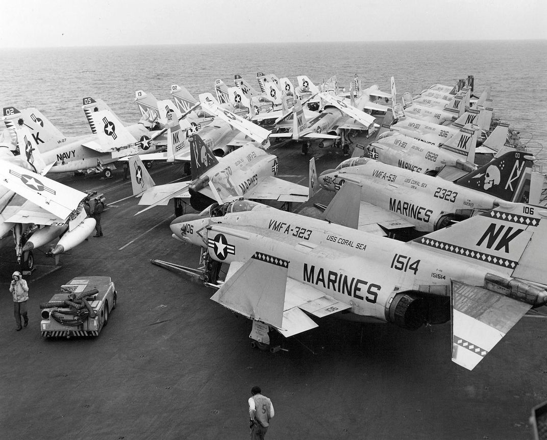 The F-4's folding wing eased movement aboard aircraft carriers. (US Navy via D. Sheley)