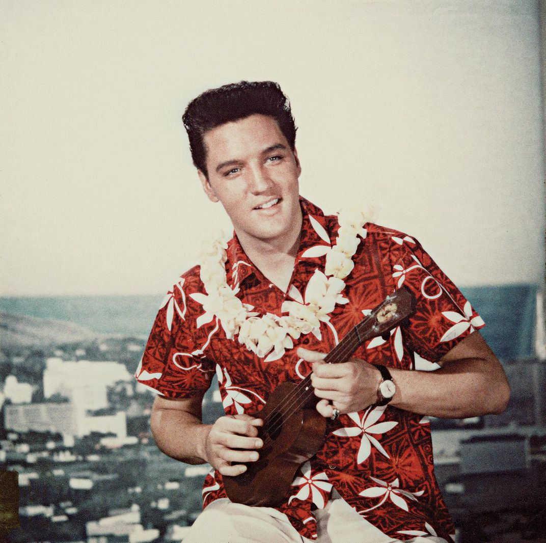Elvis Presley on the movie set of Blue Hawaii