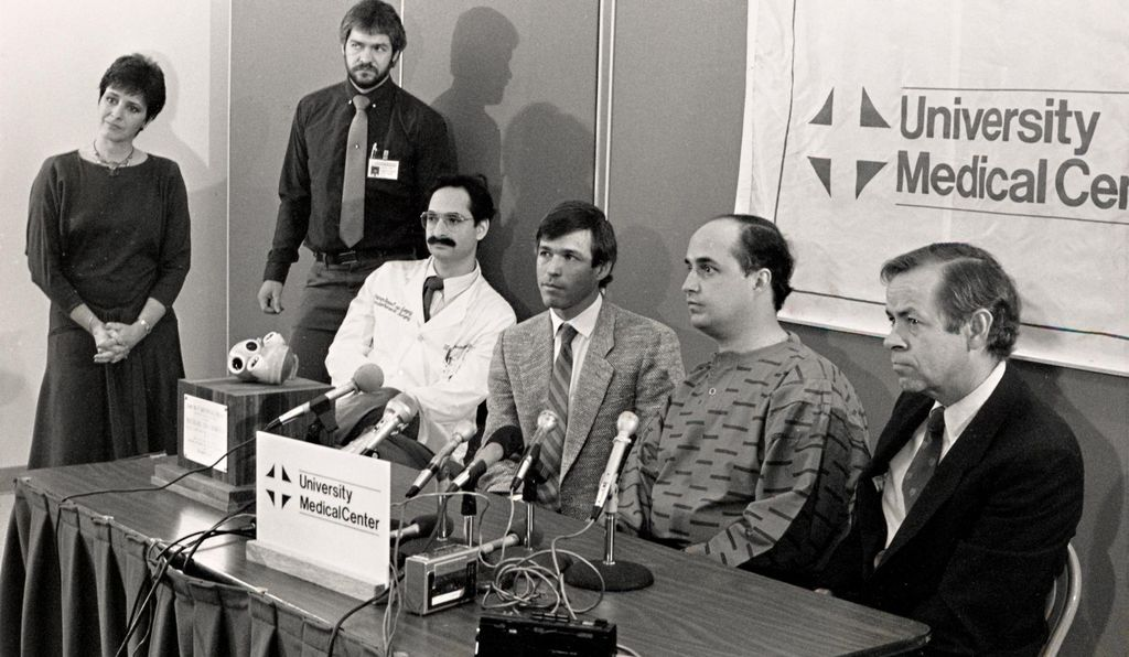 (From left to right) Nina Trasoff, Richard Smith, Mark Levinson, Robert Jarvik, Michael Drummond and Jack Copeland at a 1985 news conference announcing the first successful use of the Jarvik 7 artificial heart as a bridge to transplant.