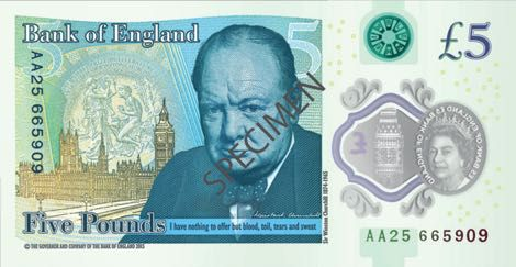 The New Meatier Five Pound Note Bank Of England