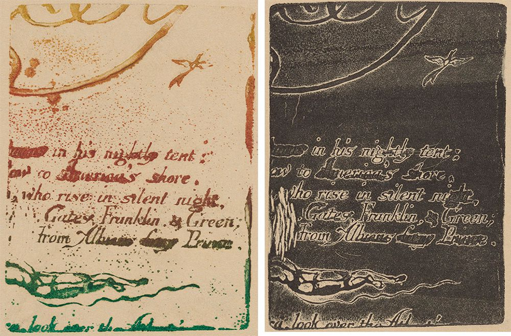 Two prints made from an original plate by William Blake