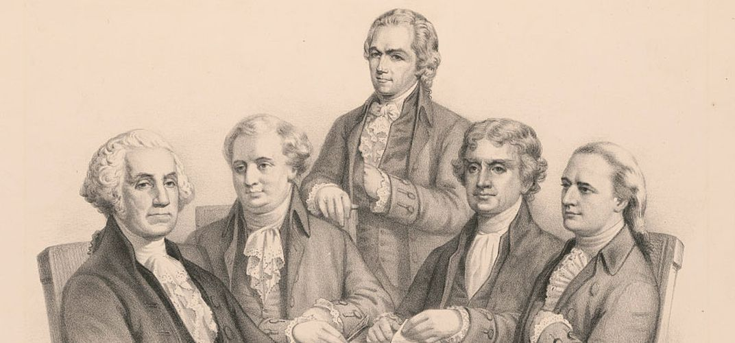Caption: Washington and his Cabinet lithograph