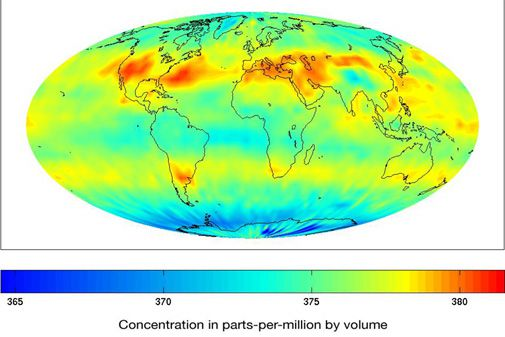 A NASA sensor maps the worldwide distribution of CO2 in the atmosphere.
