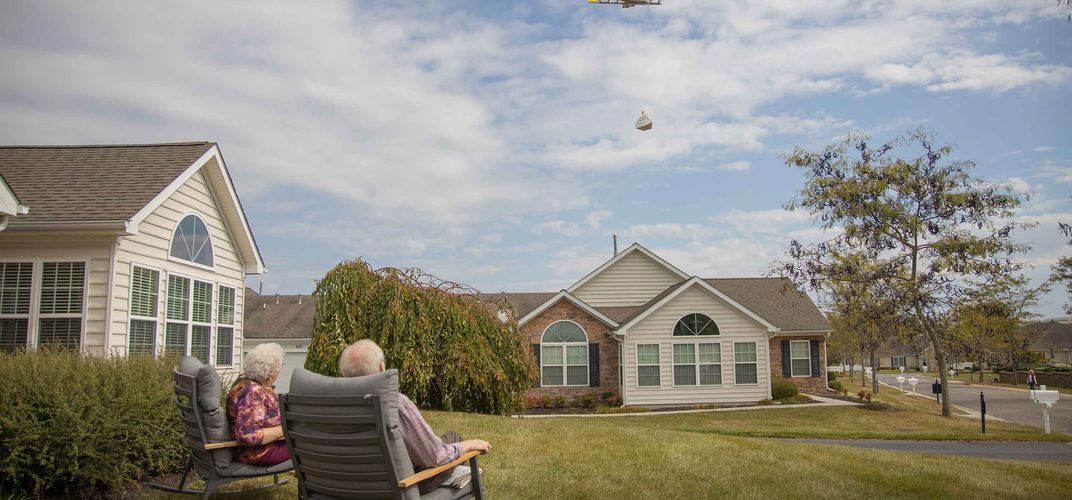 Caption: This Drone Made The First Home Delivery in the U.S