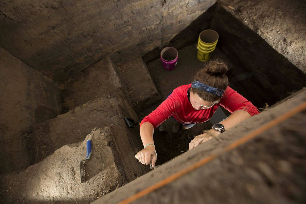 Archaeologist Caitlin Rankin conducts excavations at Cahokia