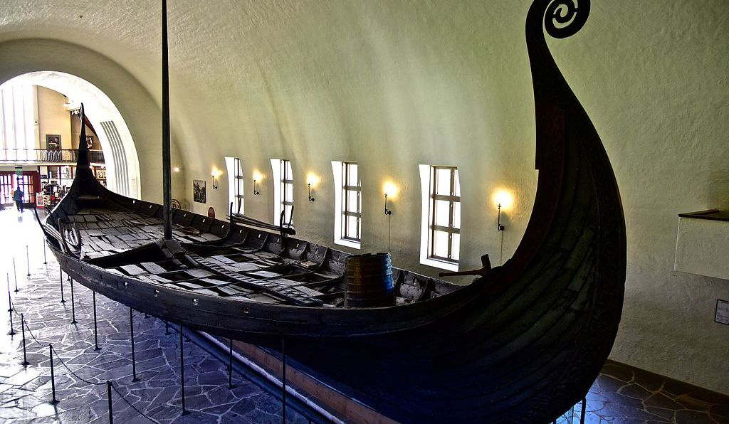 The Oseberg Ship at the Viking Ship Museum in Oslo.