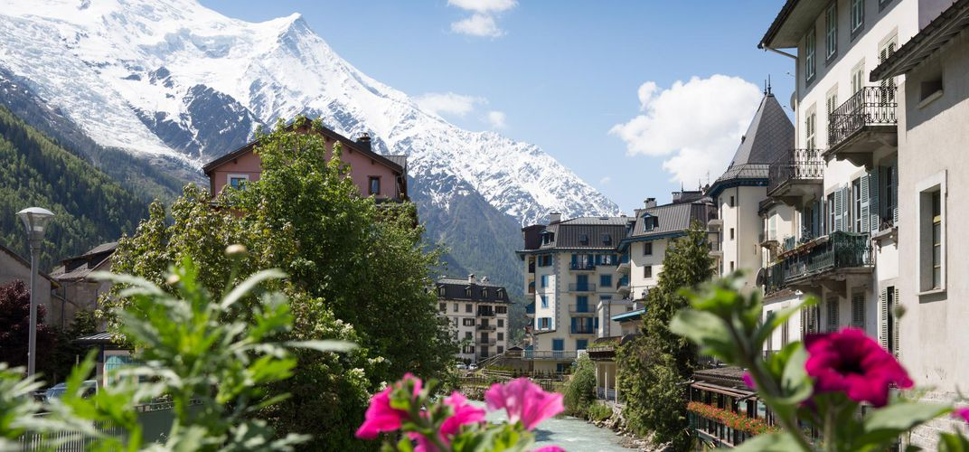View of the mountains just outside Chamonix