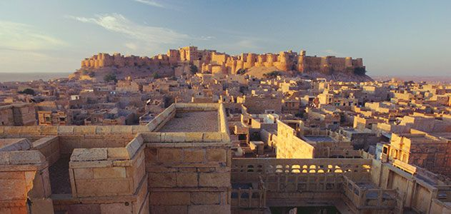 The whole of Jaisalmer fort standing majestically in Jaisalmer - The Golden City!