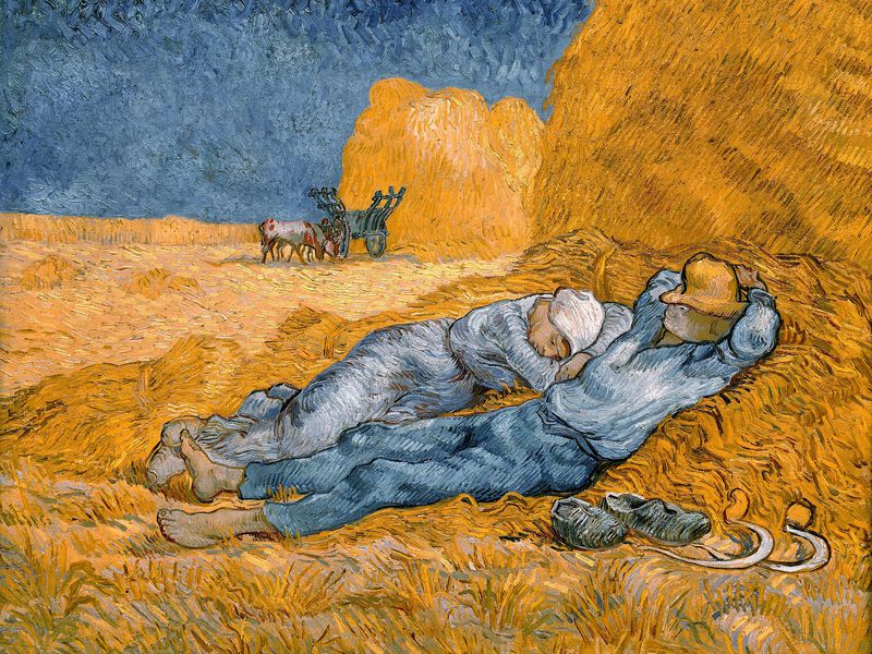 A man, wearing a hat over his eyes with his shoes off and to his side, and a woman in a kerchief and a blue dress nap together against a haystack; bright orange hay swirls around them, a mule and plow on the horizon