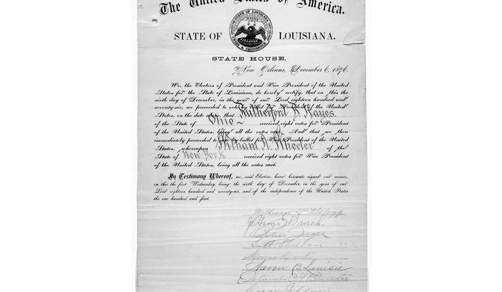 A certificate of Louisiana's electoral vote for Rutherford B. Hayes