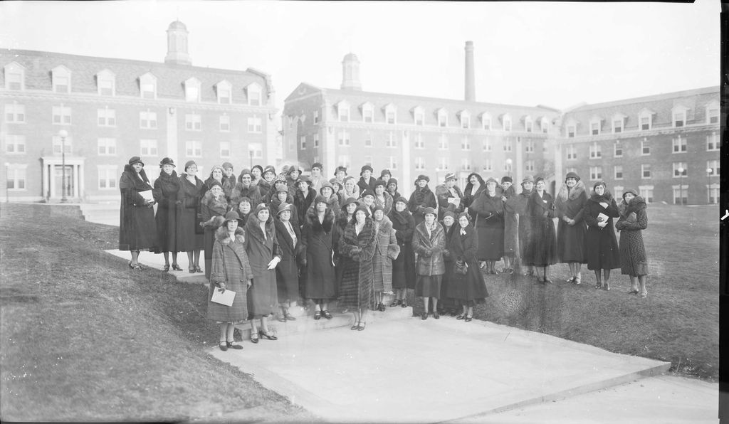 Lucy Diggs Slowe (front row, fourth from left), dean of women at Howard University and a highly regarded educator in the nascent field of student affairs, stands in front of the newly completed women's dormitory with the national professional organization of deans of women in February 1932.