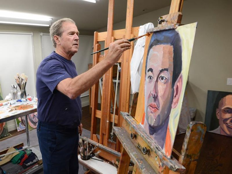 George Bush Painting Bathtub: George W. Bush Displays Portraits Of Military Veterans