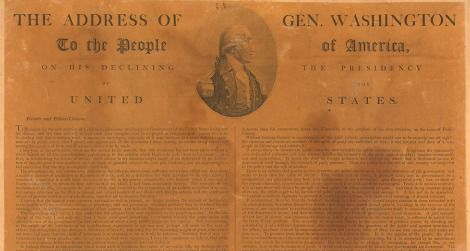 A broadside version of Washington's Farewell Address, first published 215 years this week.