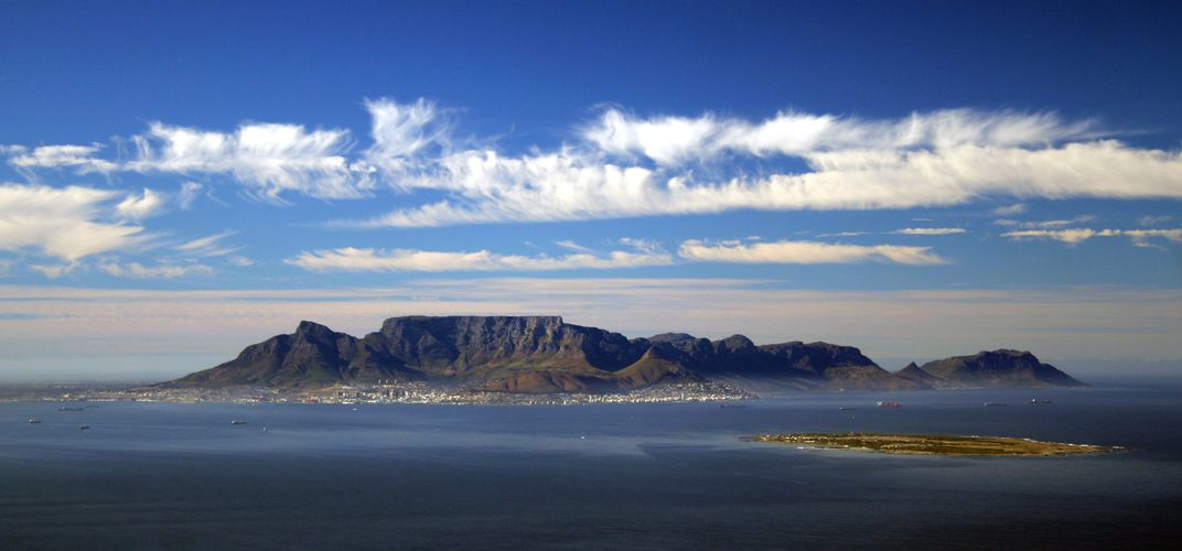 Cape Town's Table Mountain with Robben Island in foreground, South Africa