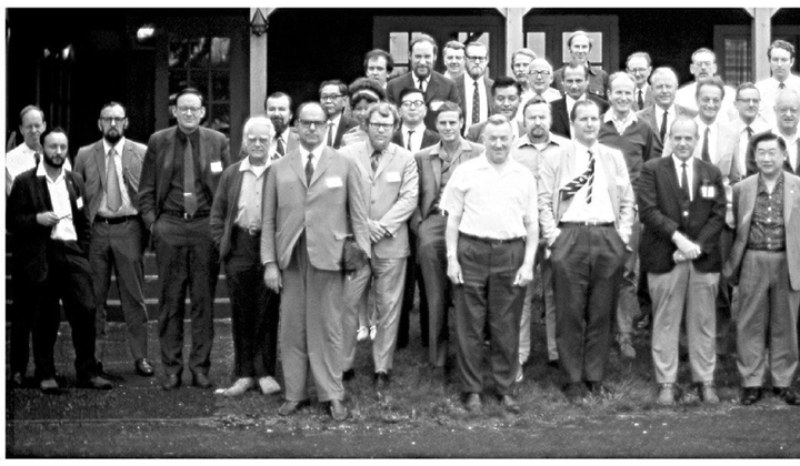 Participants at a 1971 whale biology conference. Sheila Minor is pictured in the second row, center left. Photo via @mycandacejean
