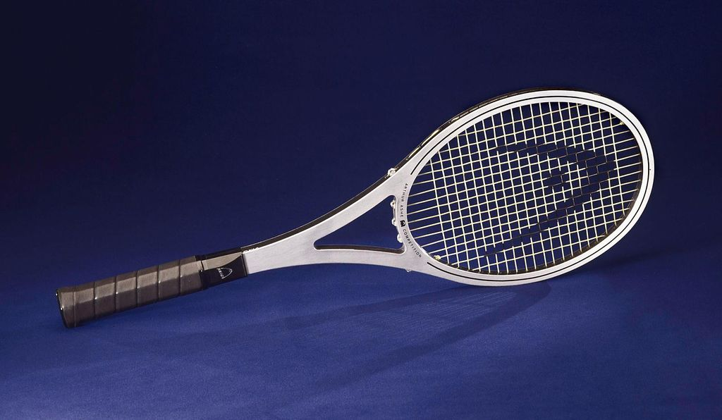 The racket used by Arthur Ashe at Wimbledon and the Davis Cup, circa 1975, now resides in the collections of the National Museum of American History.