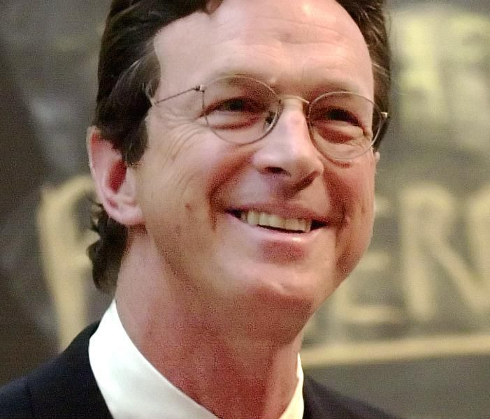American author and speaker Michael Crichton speaking at Harvard.