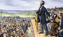 Abraham Lincoln delivering the Gettysburg Address