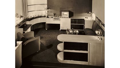 Musicorner room designed by John Vassos displayed at the American at Home Pavilion, 1940 New York World's Fair, 1940 / Richard Averill Smith, photographer. John Vassos papers, 1920-[198-]. Archives of American Art, Smithsonian Institution.