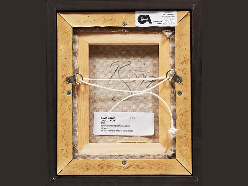 The back of the canvas features the artist's signature and a printed label detailing the portrait's title, year of creation and materials used.