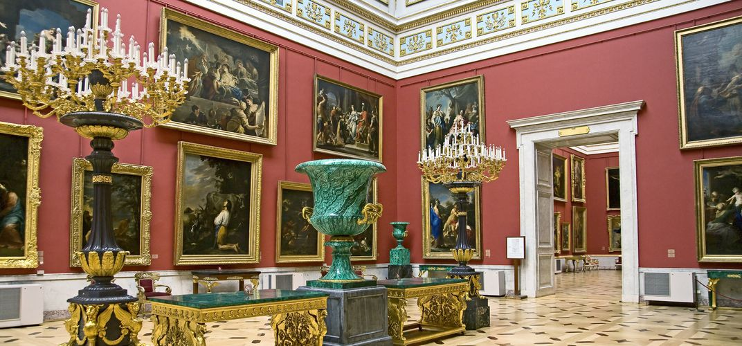 Gallery inside the world-class Hermitage Museum in St. Petersburg