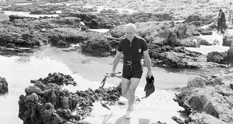 Harold Holt, the Australian Prime Minister, taking a swim