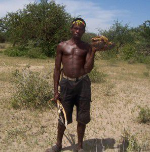 A Hadza honey hunter with his prize, honey still in the comb.