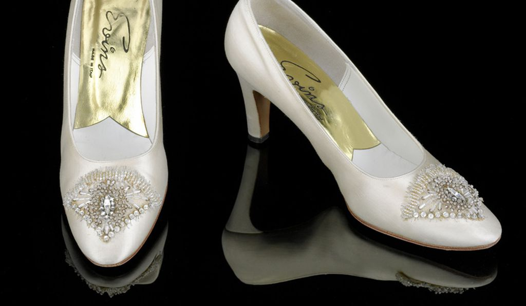 The beaded shoes designed by David Evins that Nancy Reagan wore to the inaugural balls in 1981.