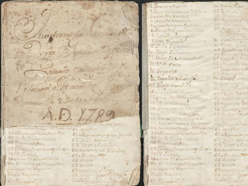 Mexican cookbook pages c. 1789