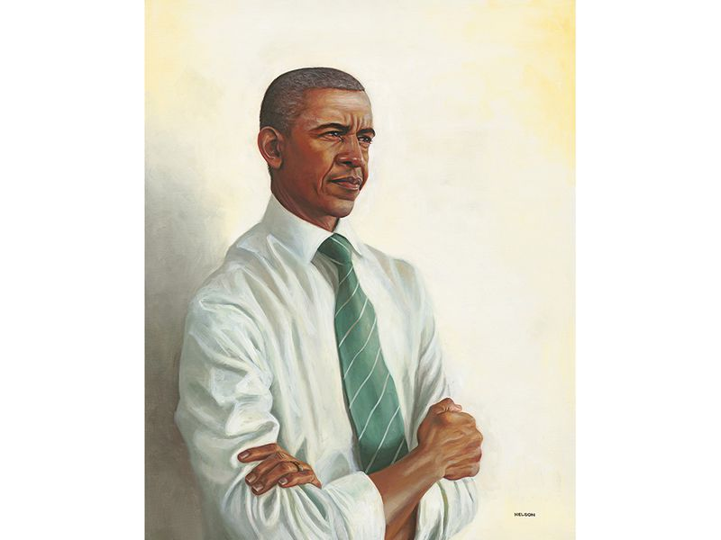 Oil portrait of Barack Obama