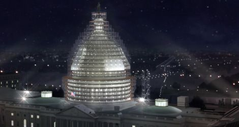 Rendering of the scaffolding that will surround the dome during its restoration.