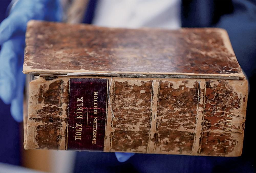 A 1615 Bible, stolen by Priore from the Carnegie Library in Pittsburgh in the 1990s and sold to the American Pilgrim Museum in the Netherlands.