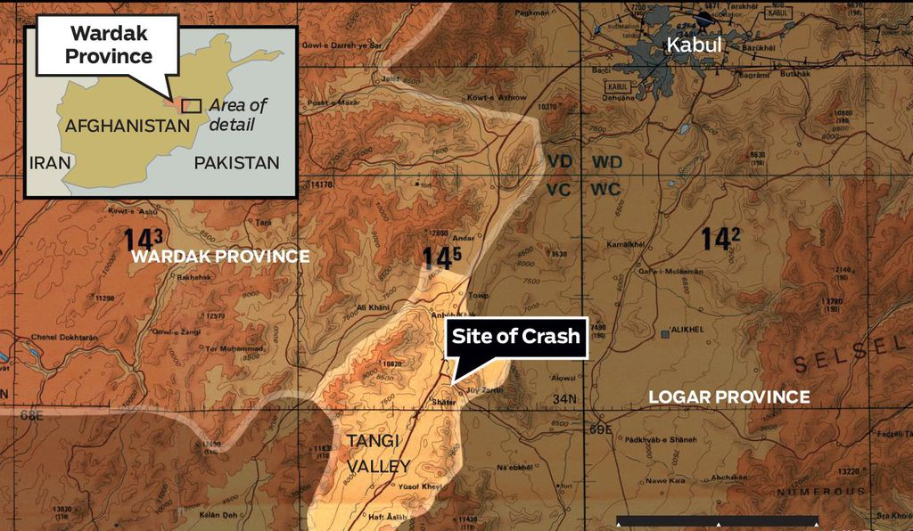 The crash took place about 40 miles from Kabul, in the Taliban-thick Tangi Valley.