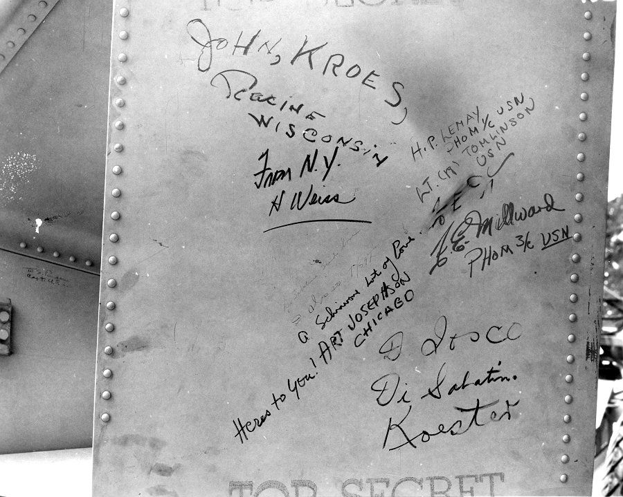 Enola Gay Weaponeer Deak Parsons Was One Of Several People To Sign Their Names On The Tail Assembly Fat Man Bomb Courtesy Atomic Heritage