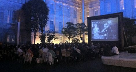 A 16-foot pop-up screen will shortly show movies in the Kogod Courtyard.