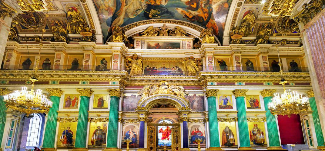 The interior of St. Isaac's Cathedral, St. Petersburg, known for its dazzling interior of malachite and lapis lazuli